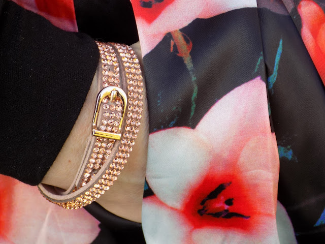 Rose gold sparkly diamante wrap bracelet with buckle