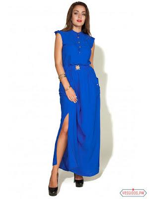 vestidos color azul largos casuales