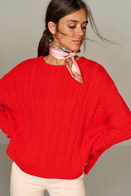 Yuvarlak yaka bayan kırmızı kazak