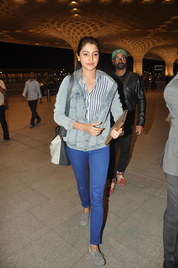 Actress Anushka Sharma In Blue Shirt Jeans At Airport