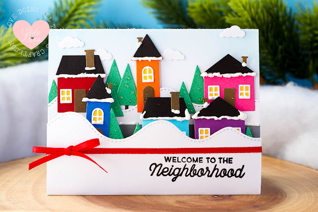 Welcome to the Neighborhood Front Pop Up Panel Card ft.  MFT's Stamps and Dies