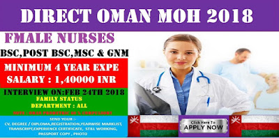 DIRECT OMAN MOH FOR NURSES 2018 - APPLY NOW