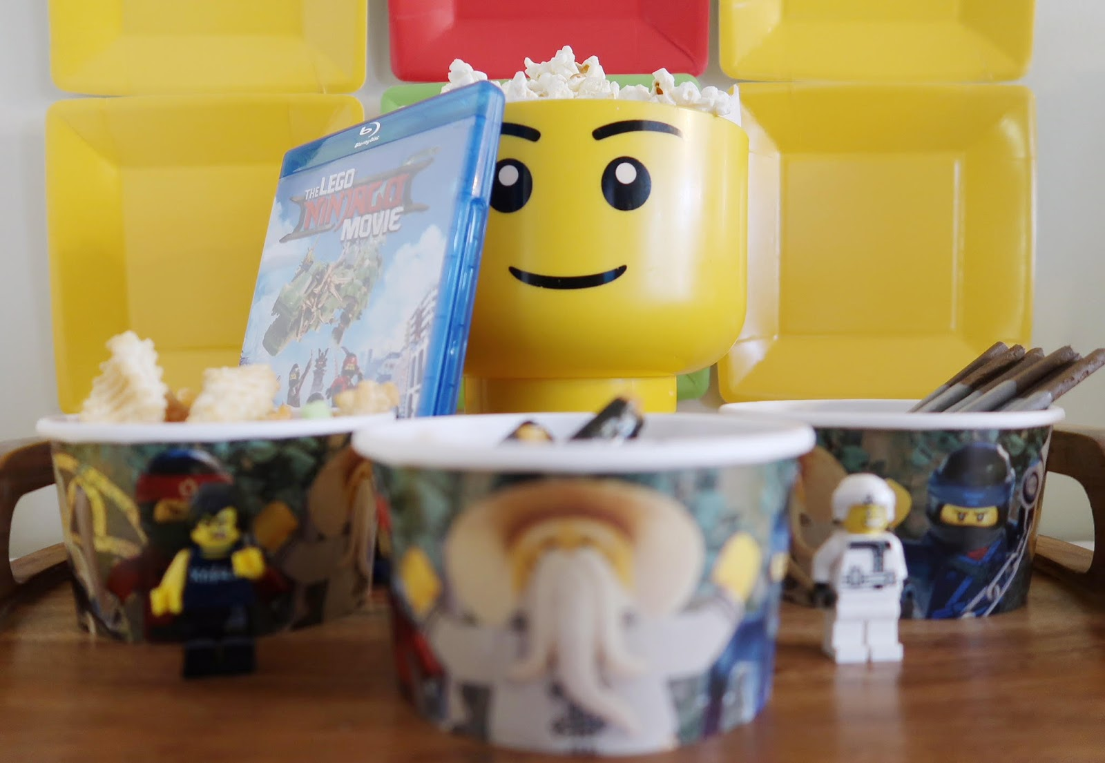 ... had paper plates to use them as LEGO bricks for my backdrop. I also used a few LEGO NINJAGO figurines that the boys already had...and they loved it. & The LEGO NINJAGO Family Movie Night Giveaway - Happy Mess MOMents