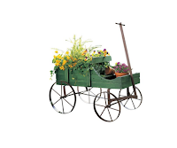 Amish Wagon Decorative Garden Planter Green, Outdoor Plat Stands, Plant Stands, Outdoor Furniture,