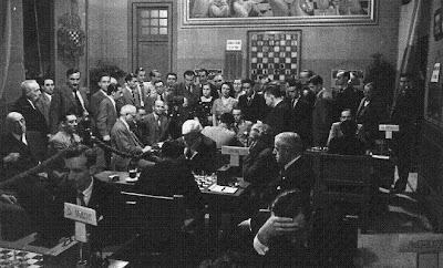Aspecto de la Sala de juego del Torneo Internacional de Ajedrez de Barcelona, 1935
