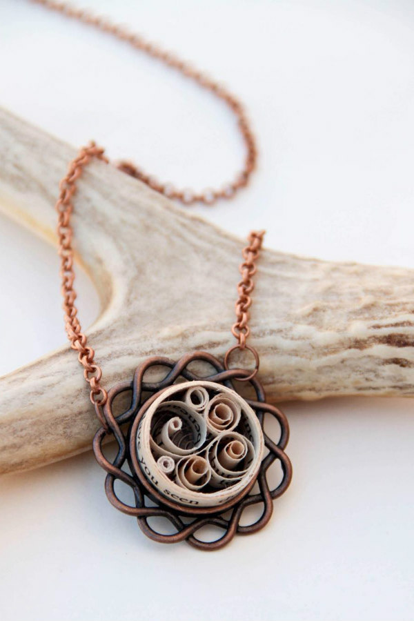 copper necklace chain and bezel featuring quilled book page strips