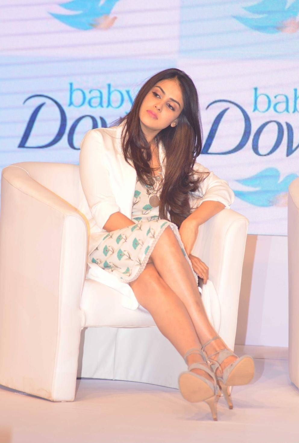 Indian Actress Genelia Hot Photos In White dress At Baby Dove Soap Launch