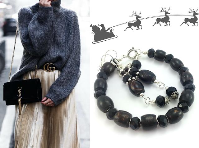 Komplet biżuterii kamienie czarny koral i kryształki. Polskie rękodzieło