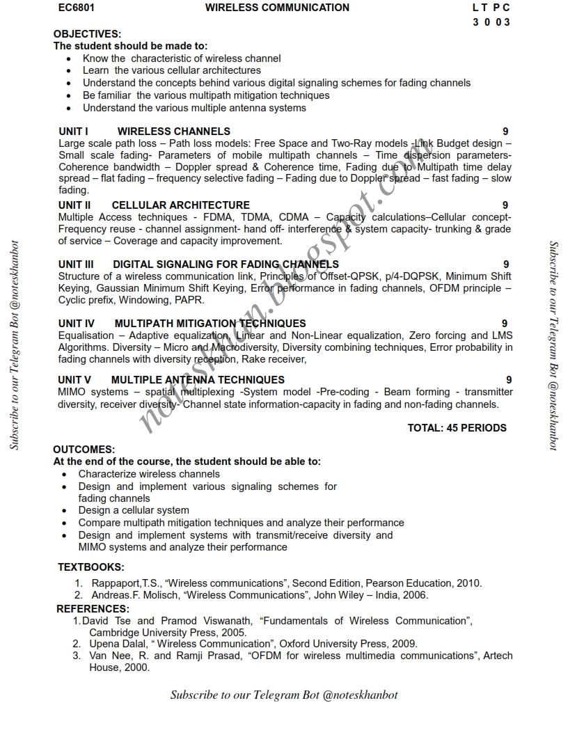 EC6801 Wireless Communication-Syllabus-Semester VIII-ECE-BE