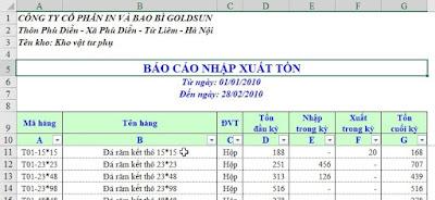 File quản lý kho nhập xuất tồn trên Excel