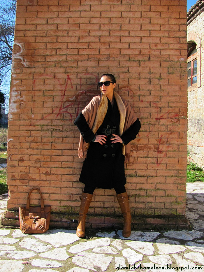 how to style belted black coat outfit inspiration