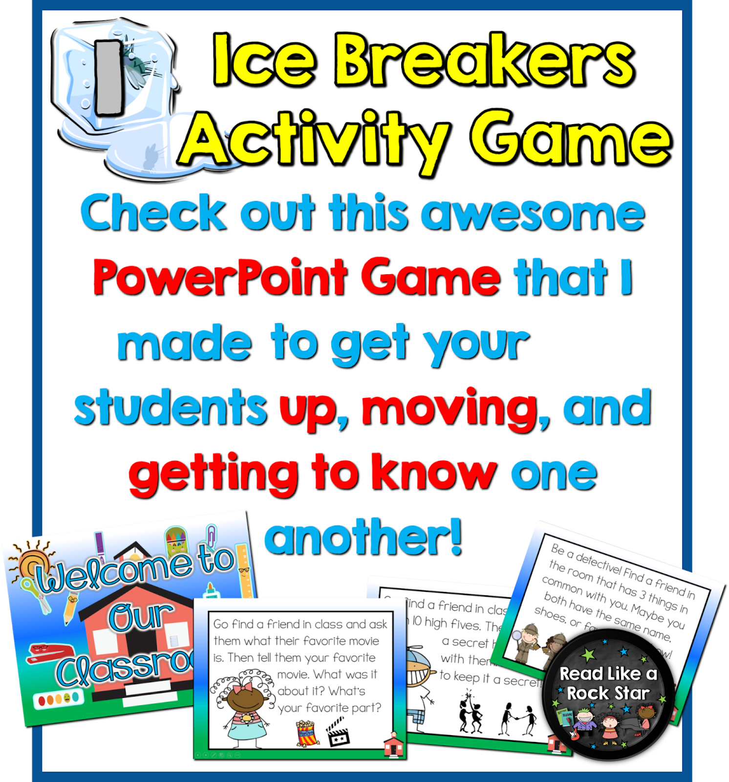 Read Like A Rock Star 5 Fun Ice Breaker Activities For The First Day Of School