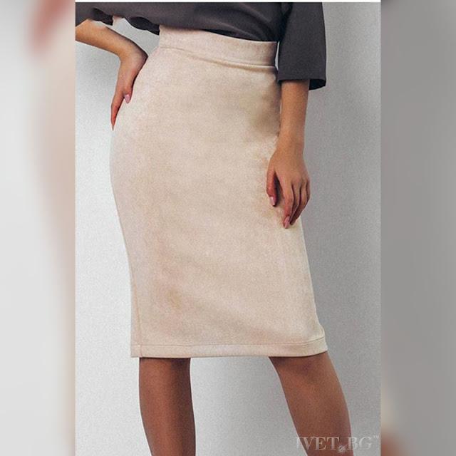 Ψηλόμεση μεσάτη μπεζ φούστα FINOLA