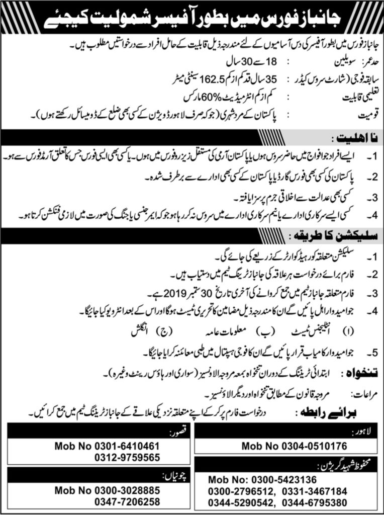 Janbaz Force New Jobs 500+Vacancies 2019