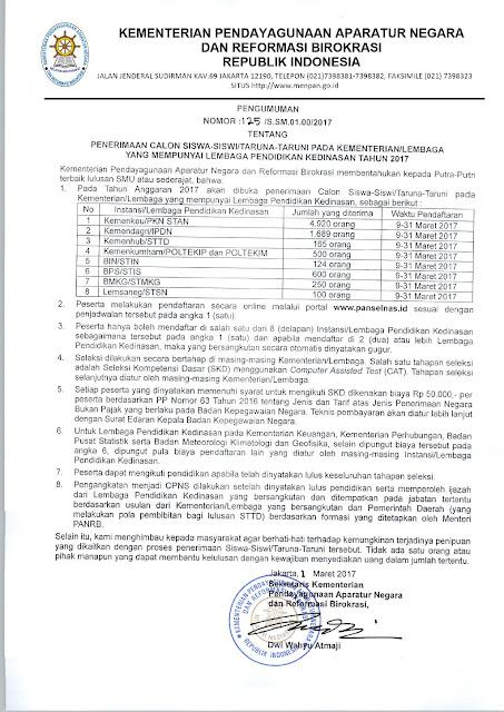 Pengumuman Penerimaan Calon Siswa-Siswi/Taruna-Taruni Pada Kementerian/Lembaga Yang Mempunyai Lembaga Pendidikan Kedinasan Tahun 2017