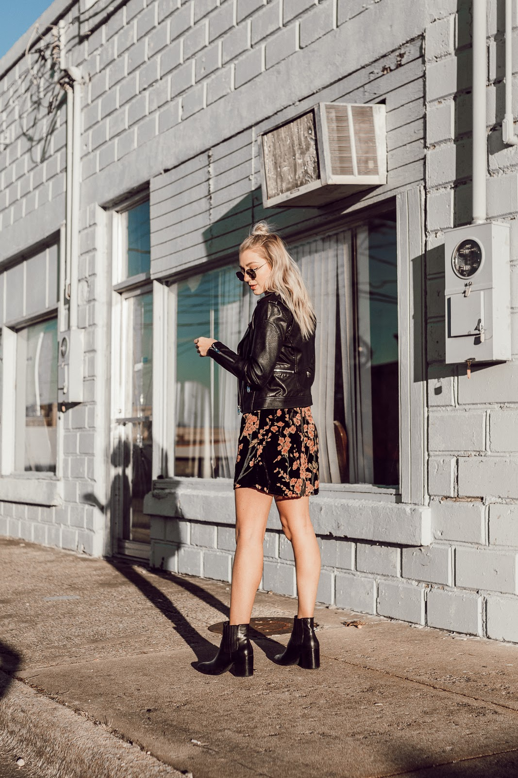 floral dress with a leather jacket | Love, Lenore