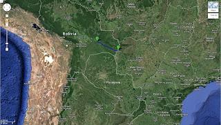 Trajeto de Corumbá/MS/Brasil a San José de Chiquitos/Bolívia - 380 km.