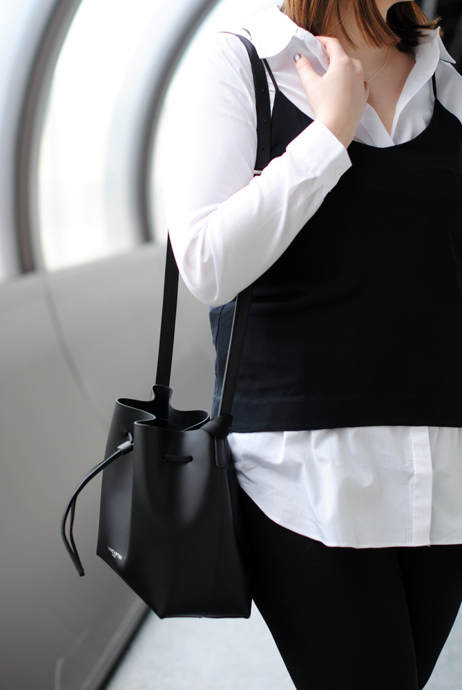 black white outfit blouse layering