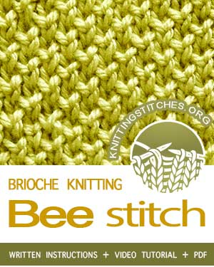 BRIOCHE KNITTING. #howtoknit the Bee Brioche Stitch, knit one below stitch. #briocheknitting #knitbrioche