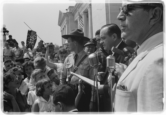 Governor Orval Faubus speaking to the crowd protesting against the integration of Little Rock Central High School (August 20, 1959)