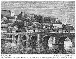 Tuschezeichnung Joseph Stoll, Festung Namur von der Sambre, Nachlass Joseph Stoll Bensheim, Stoll-Berberich 2016