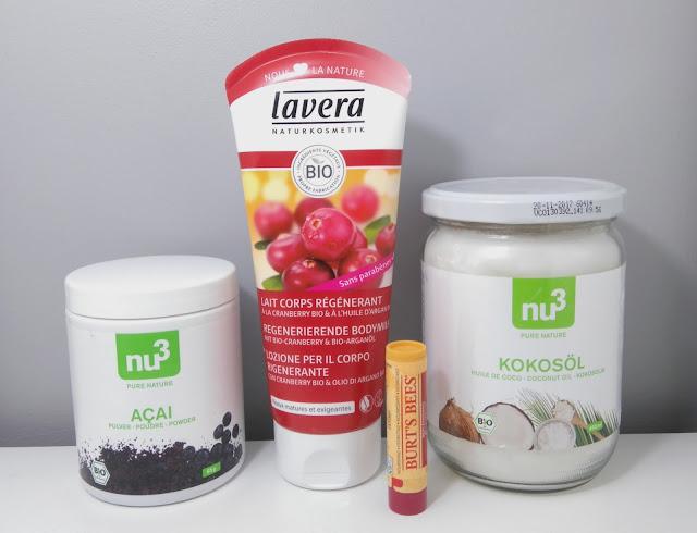 huile de coco, açaï, bio, lavera, lait pour le corps, burt's bees, baume à lèvres, nu3 box, bullelodie