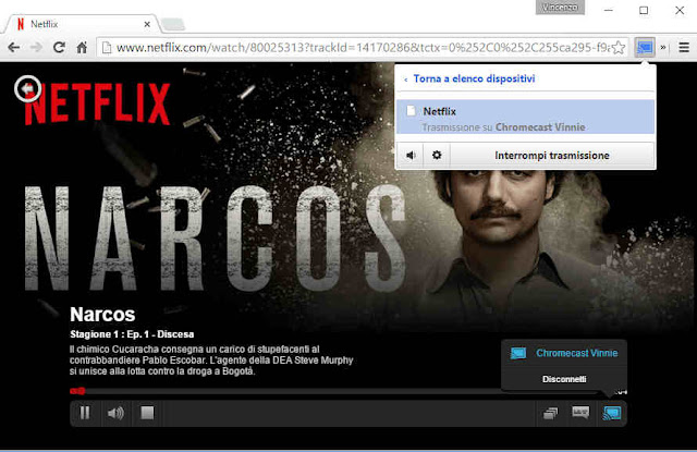 Interrompere trasmissione Chromecast PC TV Netflix