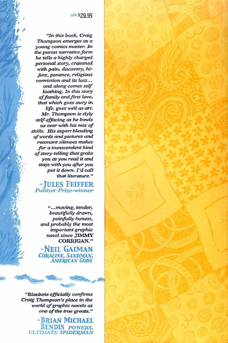 Cover inner flap of Craig Thompson's graphic novel Blankets