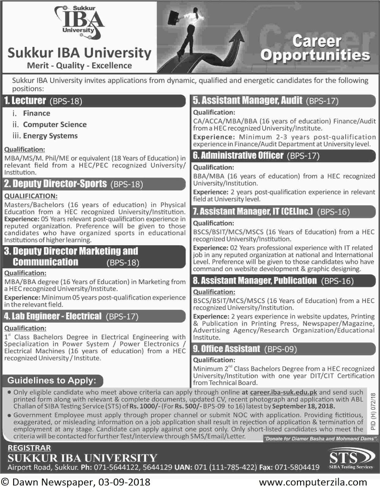 Career Opportunities at Sukkur IBA University