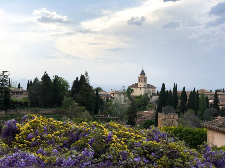 View from Generalife to Nasrid Palace, Alhambra, Spain