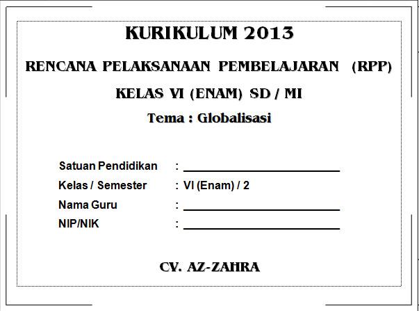 RPP Kurikulum 2013 SD KELAS 6 SEMESTER 2 - Globalisasi