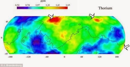 This image shows a thin radioactive substance on Mars including uranium, thorium, potassium radioactive.