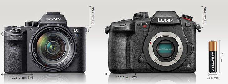 Сравнение габаритов Panasonic Lumix GH5s и Sony A7S II