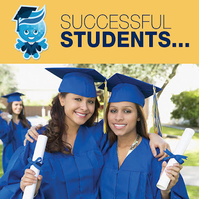 Image of Splash in cap and gown.  Image of two female graduates with diplomas in their hands.