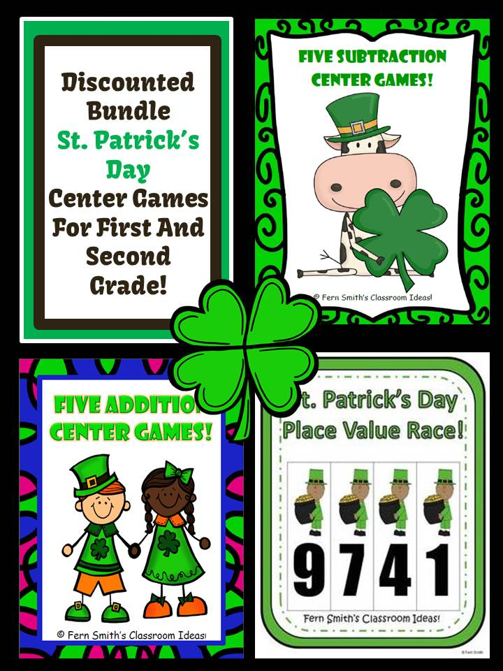 Fern Smith's Classroom Ideas St. Patrick's Day Discounted Bundle - Add, Sub and Place Value
