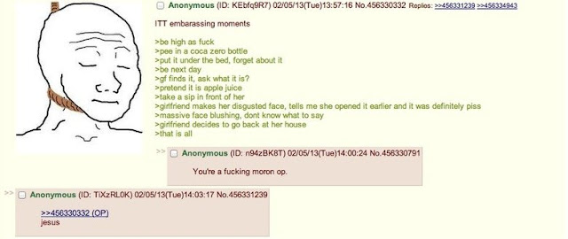 A 4chan story about some guy peeing in a bottle
