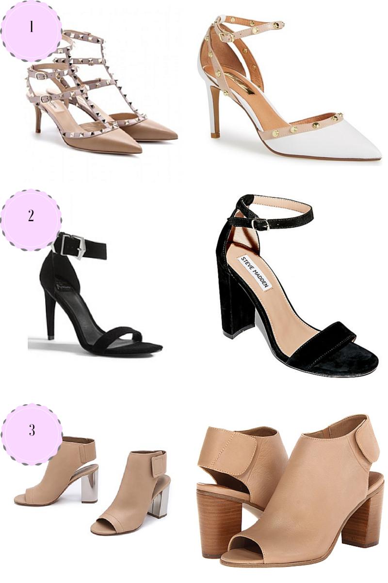 shoe options - pump, sandals, mules