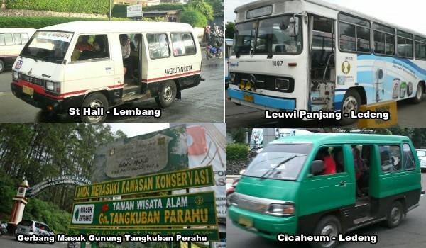 Beberapa angkutan umum untuk akses menuju gunung tangkuban perahu