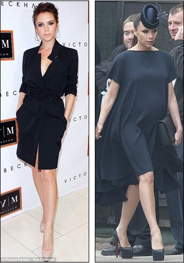 1a346c6f3d8f3 Determined: Victoria - in 2010 at the launch of her eponymous label in  Moscow (left) and heavily pregnant at the Royal Wedding this April (right)  - is using ...