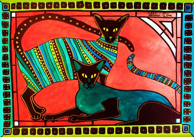 Legend of the Siamese, whimsical cat painting by Dora Hathazi Mendes, Cats of Karavella Collection