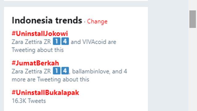 Perang Tagar,  #UninstallJokowi jadi Top Trending Topic Kalahkan #UninstallBukalapak