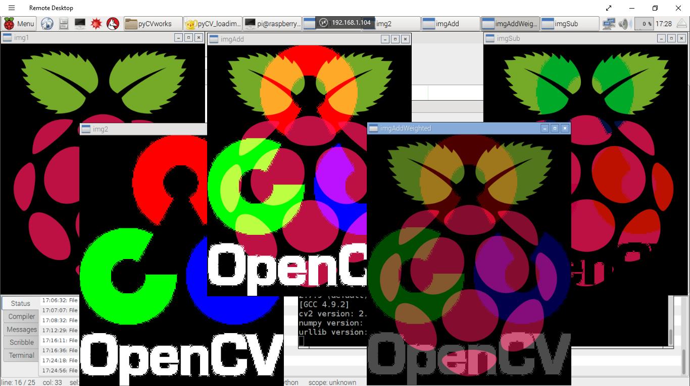 Hello Raspberry Pi: Python + OpenCV: Arithmetic Operations