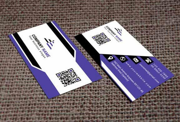 Purple White & Black Business Card Template