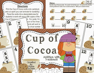 http://www.teacherspayteachers.com/Product/Cup-of-Cocoa-Addition-with-3-Addends-1037996