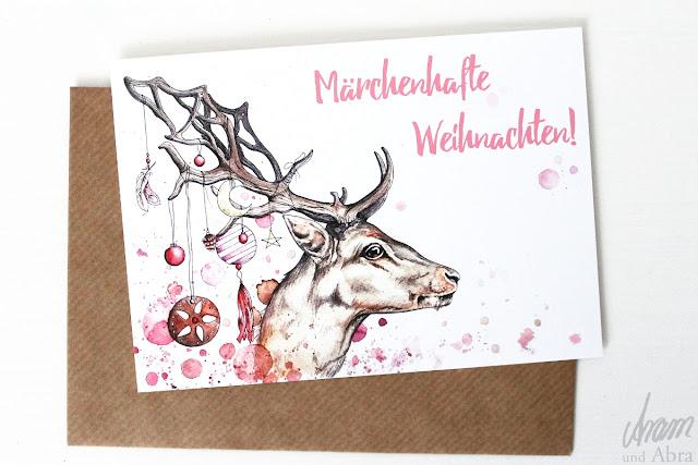 weihnachtskarte hirsch aquarell