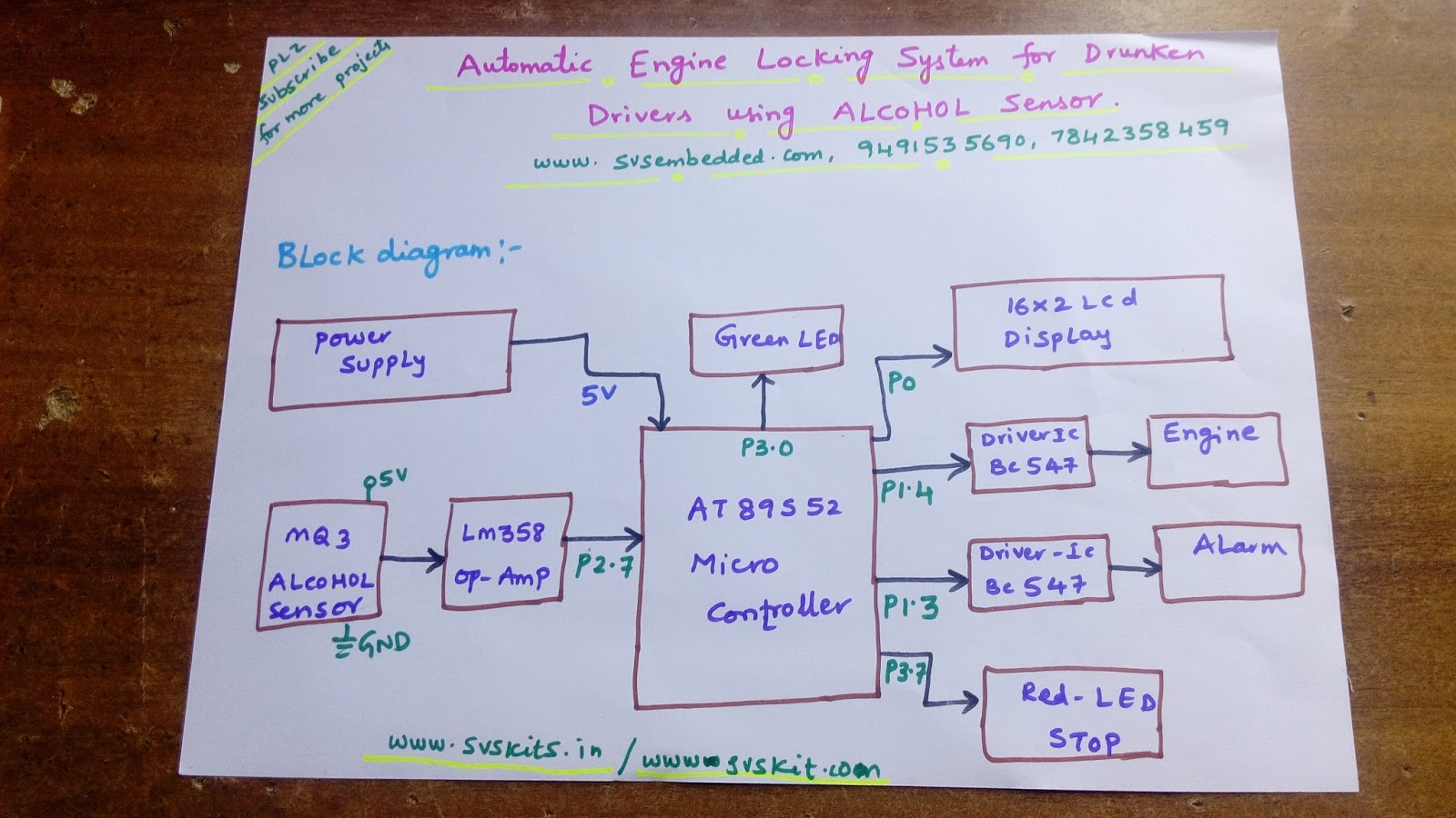 Svsembedded Projects 91 9491535690 7842358459 Automatic Project Of Circuit Diagram 12 Alcohol Sensing Alert With Engine Locking Pdf 13 14