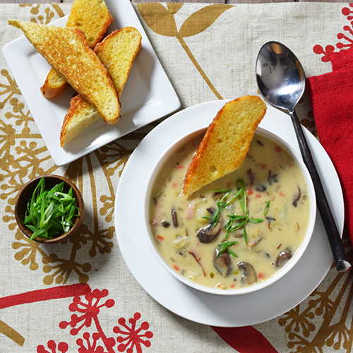 recipe for Potato, Mushroom, and Ham soup