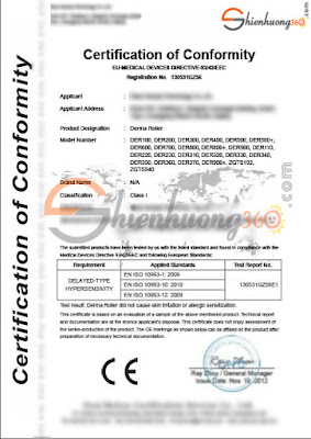 Giấy chứng nhận kim lăn ZGTS đạt tiêu chuẩn CE