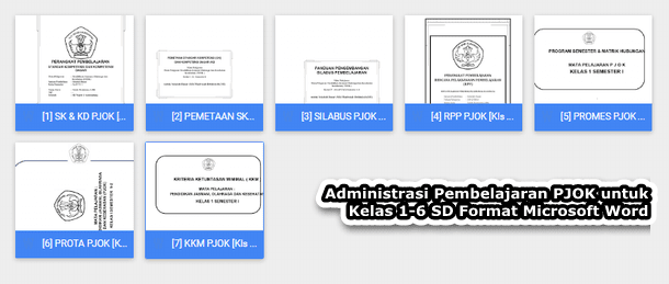 Administrasi Pembelajaran PJOK untuk Kelas 1-6 SD Format Microsoft Word