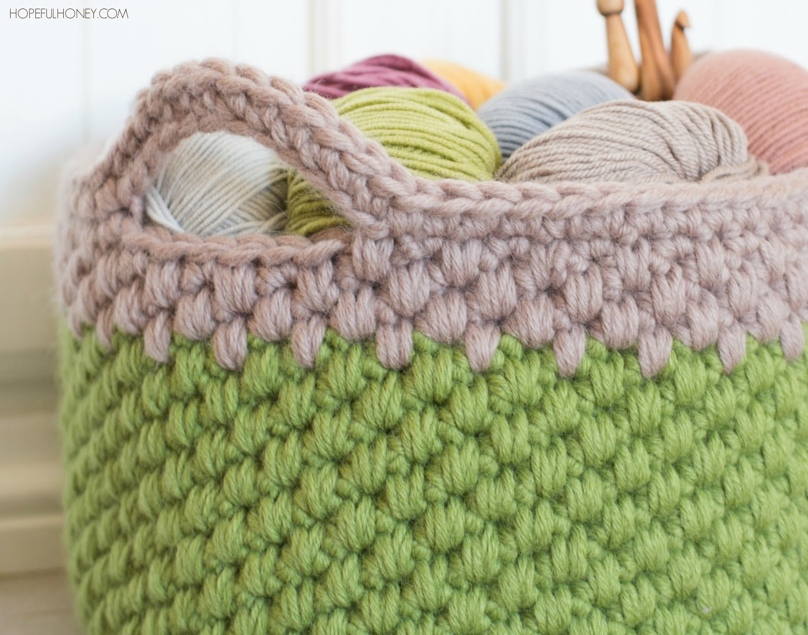 Crochet Patterns Chunky Yarn : ... Crochet, Create: Woodland Moss Chunky Basket - Crochet Pattern